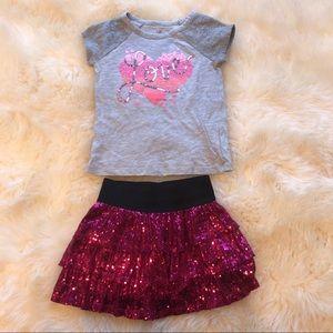 Girls Size 6 Skirt & T-shirt Outfit